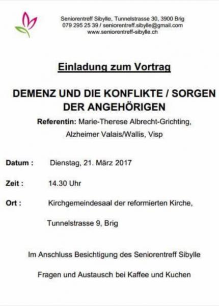 Dienstag, 21. März 2017 - Thema: Demenz